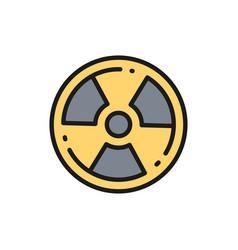Radioactive warning sign radiation nuclear flat vector