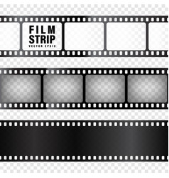realistic film strips collection on transparent vector image