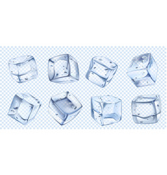 realistic ice cube iced water cubes for cool vector image