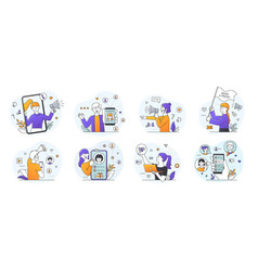 refer a friend concept for online and community vector image