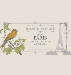 retro postcard with little bird and eiffel tower vector image