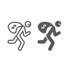 robbery line and glyph icon crime and burglary vector image