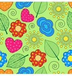 seamless background with swirls leaves flowers vector image