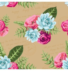 Seamless vintage pattern with painted flower vector