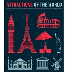set icons travel and landmarks vector image