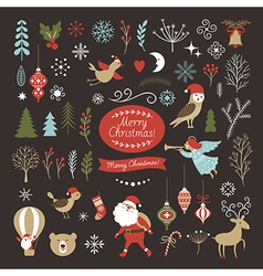 Set of Christmas graphic elements on a black backg vector