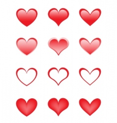 set of the beautiful hearts vector image