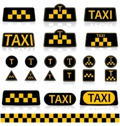 Set sign taxi vector image