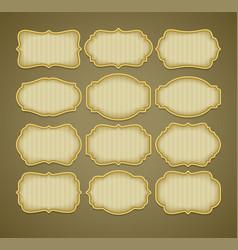 set vintage gold label frames vector image
