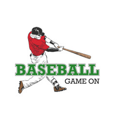 sketch baseball player with typography vector image