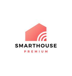 smart home house signal wifi wireless tech logo vector image