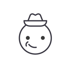 smiling emoji with hat emoji concept line editable vector image