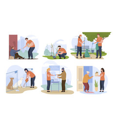social workers taking care about people pet vector image