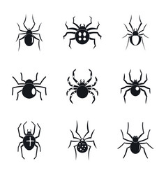 spider bug caterpillar icons set simple style vector image
