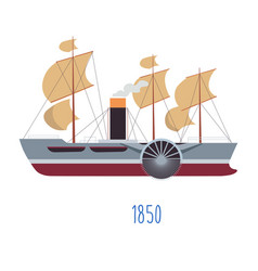 steam boat with sails and tube with smoke vector image