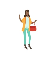 Stylishly Dressed Young Black Woman vector image