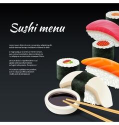 Sushi On Black Background vector image
