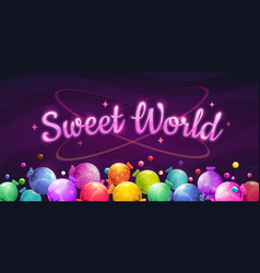 sweet world background colorful horizontal banner vector image