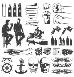 Tattoo Black White Icons Set vector