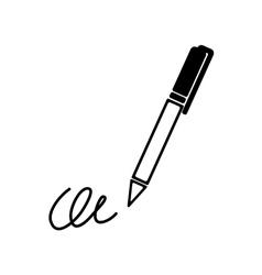 The signature pen undersign underwrite ratify vector image