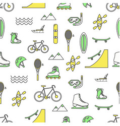 thin line art leisure seamless pattern vector image
