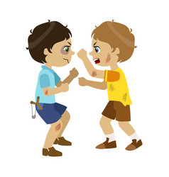 Two bad boys fighting part of bad kids behavior vector