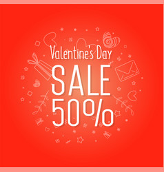 valentines day sale web flyer vector image