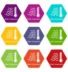 Water temperature icons set 9 vector