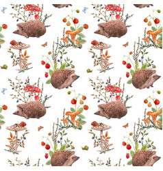 watercolor autumn forest pattern vector image