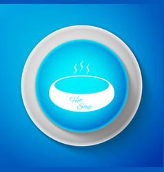 white bowl of hot soup icon on blue background vector image
