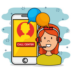 woman with headset speaking call center support vector image