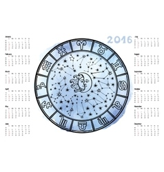Zodiac signHoroscope circle2016 year vector image