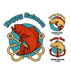 fishing club or company emblem set vector image vector image