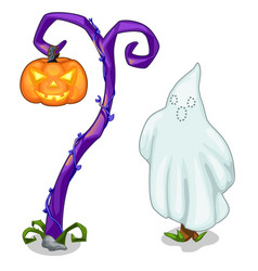 Funny ghost and magical tree with carving pumpkin vector