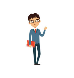 intelligent teacher or student holding book and vector image