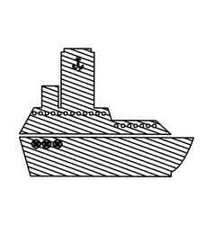 monochrome silhouette of vessel to striped vector image