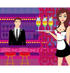 sexy waitress serves colorful drinks vector image vector image