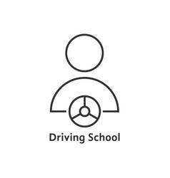 thin line driving school logo vector image vector image