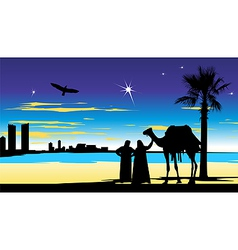 travelers near the palm trees at night vector image