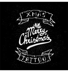 Vintage Christmas Skull tattoo vector image vector image