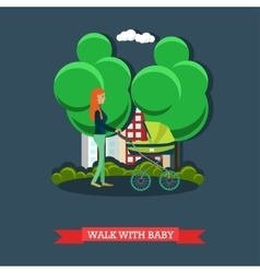 Walk with baby concept flat vector image vector image