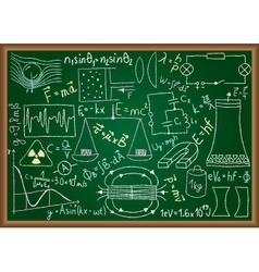 Physical doodles and equations on chalkboard vector image
