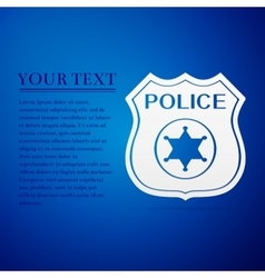Police badges flat icon on blue background vector image vector image