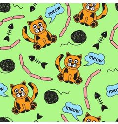 seamless background with orange cats vector image