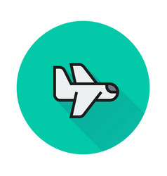 airplane icon on round background vector image