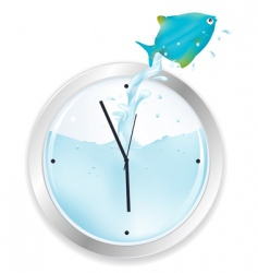 blue fish jumping from clock vector image vector image