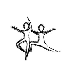contour people practicing dancing icon vector image vector image