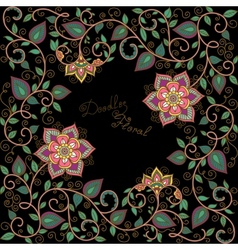 floral pattern on the black background vector image vector image