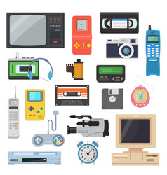 icons of retro gadgets of the 90s in a flat style vector image