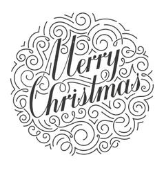 ornate Christmas card Original calligraphy vector image vector image